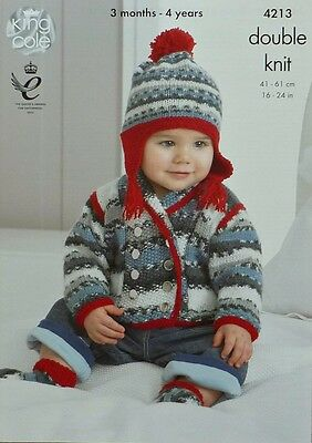 KNITTING PATTERN Baby Long Sleeve Double Breasted Jacket & Hat DK King Cole 4213