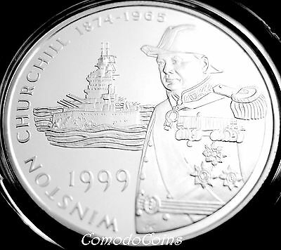 1999 Falkland 50p Fifty Pence Silver Proof Crown Coin Churchill In Uniform Rare