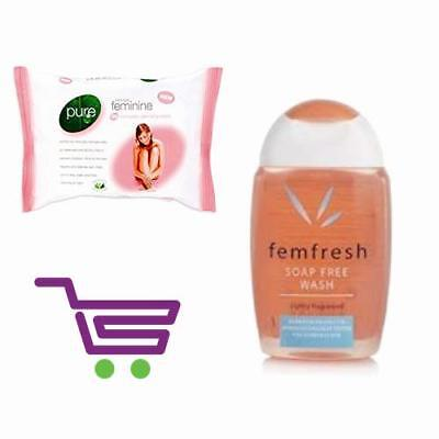2 PACK Femfresh PURE & FRESH GEL WASH Ladies Hygiene 300ml 2x150ml