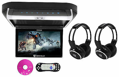 "Rockville RVD10HD-BK 10.1"" Flip Down Monitor DVD Player, HDMI, USB+Headphones"