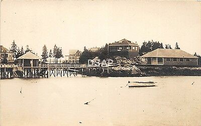 <A14> MAINE Me Real Photo RPPC Postcard '12 CAPITOL? Boothbay Harbor Studio Pier
