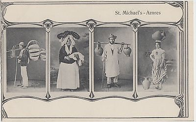 Foreign Postcard AZORES Islands Portugal c1910 TYPICAL COSTUMES Natives Jugs