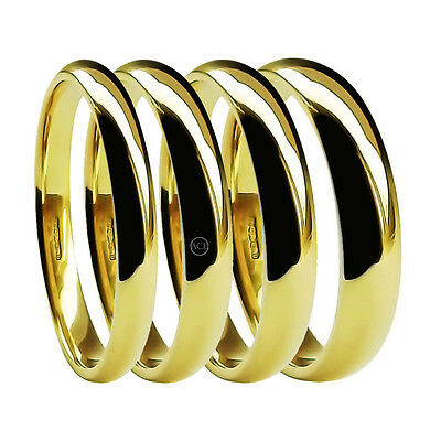 9ct Yellow Gold Light Court Wedding Rings 2mm 3mm 4mm 5mm 6mm UK HM 1.3mm Deep