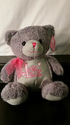 "Dan Dee Plush Stuffed Animal Gray Knit Belly Embroidered~Love~15"" Teddy Bear~New"