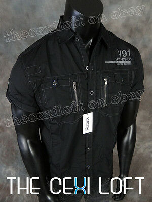 BRAND NEW Mens VERTICAL Modern Contemporary Button Shirt Black w/ Chest Pockets