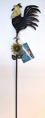 """KINETIC Plant GARDEN Yard ART Wiggle Stake ROOSTER Handcrafted Metal NEW 43"""""""