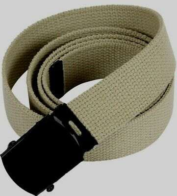 """U.s Military Style Khaki Web Belt With Black Roller Buckle 54"""" Inches Adjustable"""