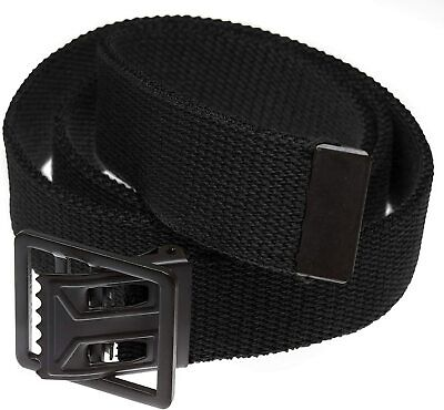 U.s Military Style Black Web Trouser Belt With Black Open Face Buckle