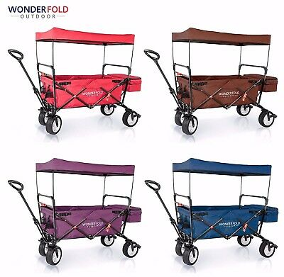 WonderFold Outdoor Cart Folding Wagon with Canopy (Optional Clip-on Child Seat)
