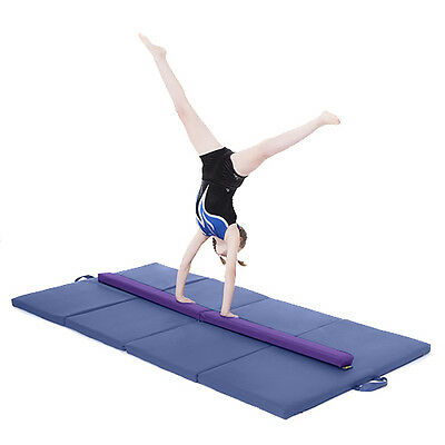 Purple Large 8ft Gymnastics Folding Balance Beam 2.4M Faux Leather Gym Training