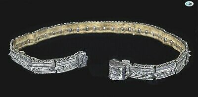 Antique Russian Niello Silver Repoussé Belt & Buckle with Leather Inside