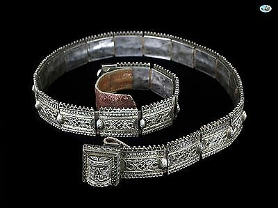 Excellent Antique Russian Niello Silver Repoussé Belt & Buckle