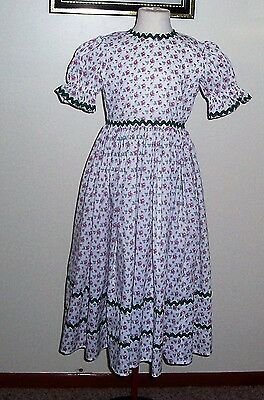 Civil War / Victorian Girl's Dress NEW size 8 (white with roses)