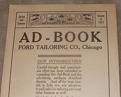 RARE Antique Spring Summer Season 1917 AD - BOOK FORD TAILORING CO., Chicago AND