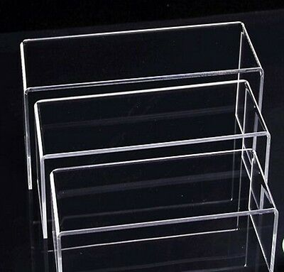 3 LAYER CLEAR ACRYLIC DISPLAY RISER SHOWCASE STAND ~worldwide free shipping
