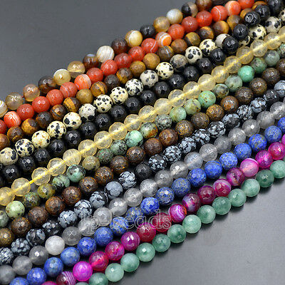 "Natural Faceted Gemstone 4mm 6mm 8mm 10mm Round Spacer Beads 15"" Lot  Wholesale"