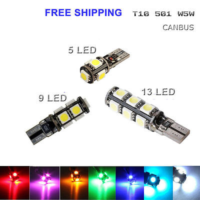 T10 Car Bulbs Lights Led Error Free Canbus Smd5050 Xenon White W5W 501 Side Lamp