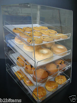 Acrylic Pastry Bakery Donut CUPCAKE Stand Display Case with 4 trays