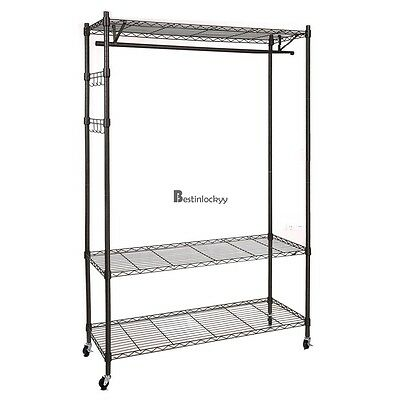 3 Tier Rolling Garment Storage Rack Wire Clothing Shelf Organizer + Hooks BSTY