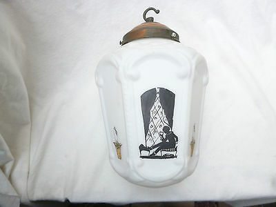 ANTIQUE BIG ART NOUVEAU HAND PAINTED VICTORIAN LANTERN LIGHT SHADE with GALLERY