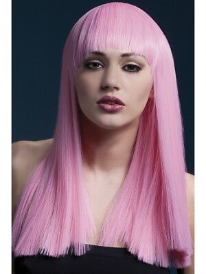"Fever Alexia Wig Ladies Long 19"""" Baby Pink Fancy Dress Wig Blunt Cut Fringed Wi"