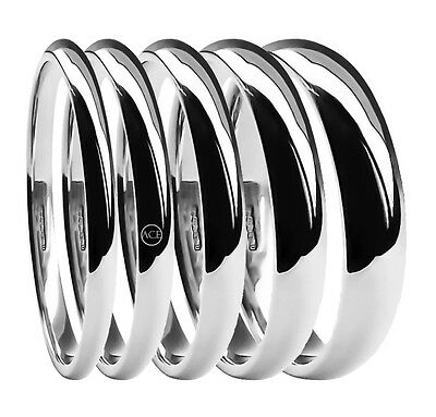 9ct White Gold Wedding Rings Light Court Comfort UK HM 2mm 3mm 4mm 5mm 6mm Band