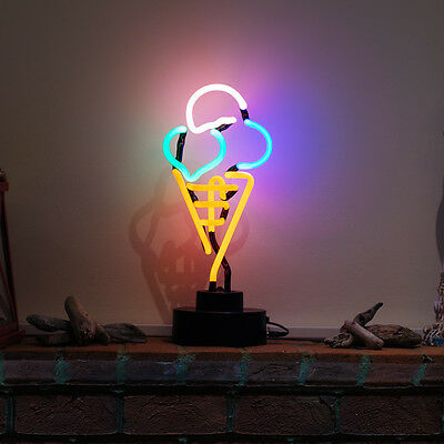 Real Neon Bar Restaurant Shop Sign Table Lamp Advertising ICE CREAM WAFFLE CONE