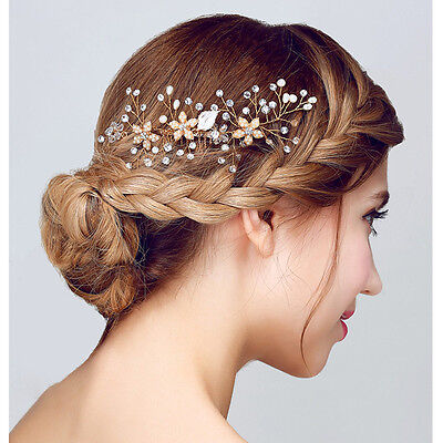 Bride Bling Gold Crystal Pearl Hair Jewelry Wedding Party Hair Comb Handmade