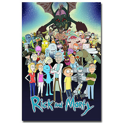 Rick and Morty Cartoon Silk Poster Canvas Print 13x20 24x36 inch 002
