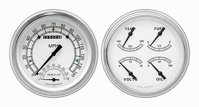 Classic Instruments 51-52 Chevy Car Package w/ Classic White Gauges Dash Insert
