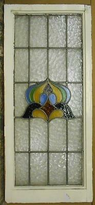"""LARGE OLD ENGLISH LEADED STAINED GLASS WINDOW Abstract Floral 19.25"""" x 43.25"""""""