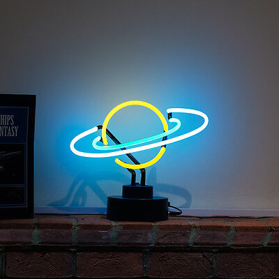 Real Neon Sign 3-D Light Scuplture Astronomy Planets Reading Table Lamp SATURN