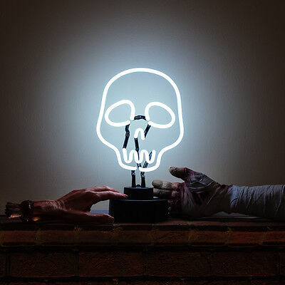 Real Neon Halloween Decoration Table Lamp 3D Light Sculpture Spooky WHITE SKULL