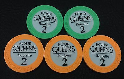 "Set of 5 Four Queens Roulette ""2"" Casino Chips Las Vegas NV House Mold Paulson"