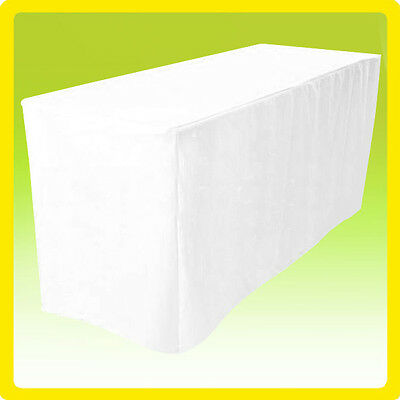 8' Fitted Tablecloth Table Cover Throw Wedding Banquet Event Polyester - WHITE