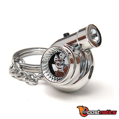 Boostnatics Rechargeable Electric Turbo Keychain Keyring w/ Sound & LED - Chrome