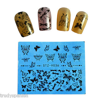 Nail Art Water Decals Transfers Black Butterflies Dragonfly Lace Gel Polish V036