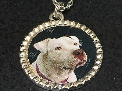 "Dog Pit Bull White Charm Tibetan Silver with 18"" Necklace BIN A"