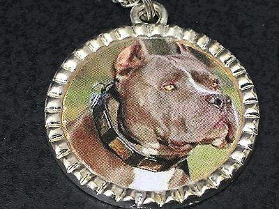 "Dog Pit Bull Grey Charm Tibetan Silver with 18"" Necklace BIN B"