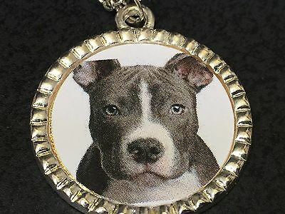 "Dog Pit Bull Grey Charm Tibetan Silver with 18"" Necklace BIN C"