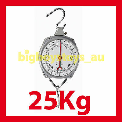 Hanging Scales Mechanical With Hook 25Kg Capacity * Fishing * Butchers * Metal
