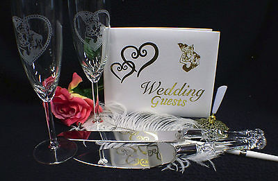 Spiderman KISS Wedding Theme LOT Glasses, Cake Knife Server Set, Guest Book, Pen