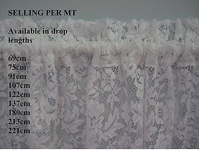 NEW WHITE Lace Curtain for Bathroom, Toilet, Caravan, 69 LENGTH selling per mt