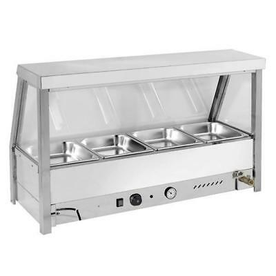 Countertop Heated Bain Marie Hot Food Display, Angled Single Row 4x 1/2 GN Pans