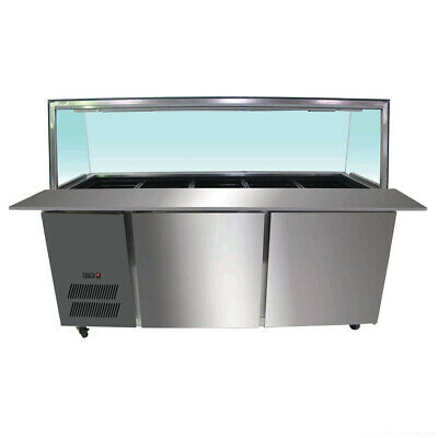 Chilled Bain Marie Display, Glass Top, Cold Food Unit 1800x790x1250mm
