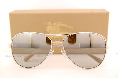 Brand New Burberry Sunglasses BE 3080 1005/6V Silver/Silver Mirror For Women