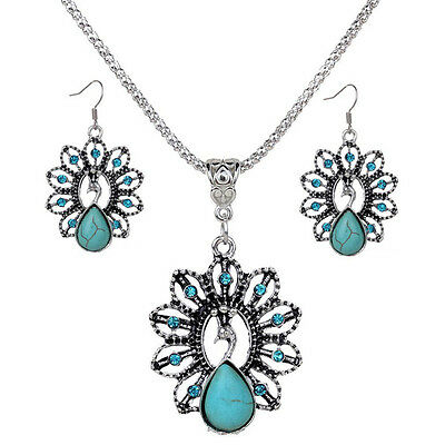Fashion Women Lovely Charming Peacock Turquoise Stone Chain Pendant Necklace