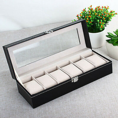 6 Grid Slots Wrist Watches Gift Case Jewelry Display Boxes Storage Holder F5