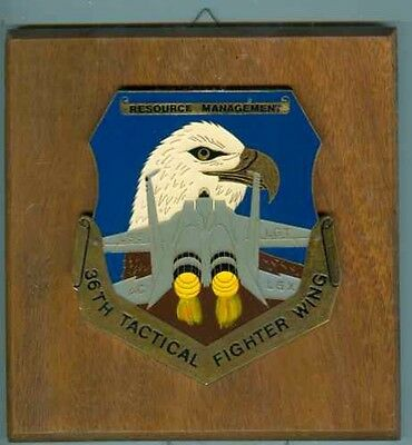 USA:Wandplatte:36th Tactical Fighter Wing 16 cm.Metall/Holz