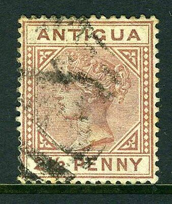 """ANTIGUA-1879 2½d Red Brown """"Large 2 in 2½ with slanting foot"""" Fine used example"""